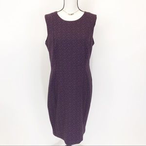 Calvin Klein purple/black print shift dress L